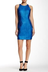 Alexia Admor Faux Leather Embossed Sheath Dress Blue