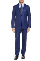Hickey Freeman Men's Big And Tall Beacon Classic Fit Solid Wool Suit Bright Blue