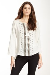 Angie Boho Embroidered Top White