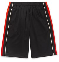 Gucci Wide Leg Logo Embroidered Webbing Trimmed Tech Jersey Shorts Black