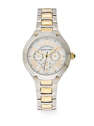 Saks Fifth Avenue Stainless Steel And Goldtone Ip Chronograph Dial Watch Silver Gold