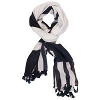Chesca Stripe Tasselled Trim Scarf White Navy