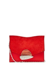 Proenza Schouler Curl Small Suede And Leather Clutch Red