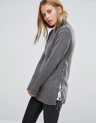 Brave Soul Jumper With Lace Up Side Mid Grey
