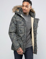 Pull And Bear Pullandbear Parka Jacket With Detachable Faux Fur Hood In Camo Khaki Green