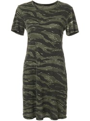 Current Elliott Short Sleeved Camouflage Dress Women Cotton 2 Green