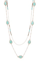 Cara Accessories Beaded Layering Teardrop Necklace Blue