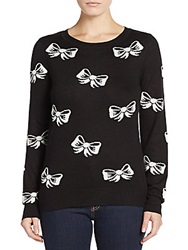 Saks Fifth Avenue Red Bow Sweater Black White