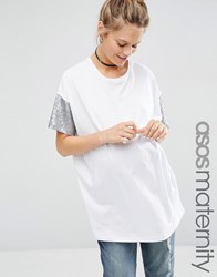 Asos Maternity T Shirt With Sequin Sleeve White