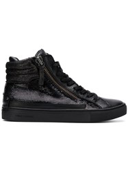 Crime London Sequin Hi Top Sneakers Black