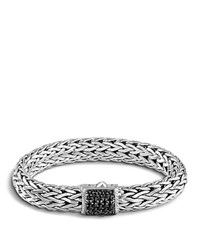 John Hardy Classic Chain Sterling Silver Large Bracelet With Black Sapphire Clasp Black Silver