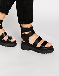Truffle Collection Ocean Chunky Gladiator Sandals Blackpu