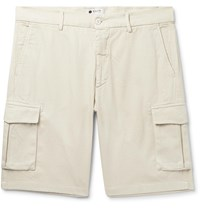 Nn.07 Nn07 Slim Fit Garment Dyed Cotton Lyocell And Linen Blend Twill Cargo Shorts Off White