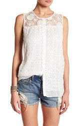 Johnny Was Embroidered Button Up Silk Tank White