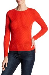 In Cashmere Cable Knit Pullover Sweater Orange