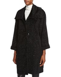 Caroline Rose Playful Persian Faux Fur Coat Black