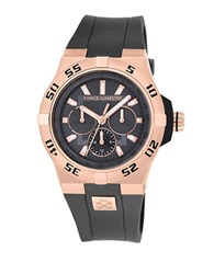 Vince Camuto Mens Rose Goldtone And Charcoal Chronograph Watch Grey