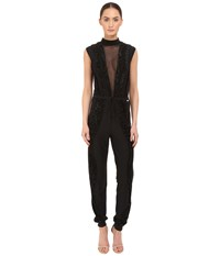 Just Cavalli Knit Jumpsuit With Sheer Panel And Lurex Trim Black