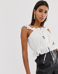 Fashion Union Lace Crop Top With Wooden Ties Cream