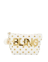 Bow And Drape Bling Embellished Dotted Pouch Gold