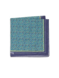Vilebrequin Multicolor Sea Life Silk Blend Pocket Square Teal Blue