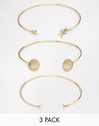 New Look Nautical Bangle Set Gold