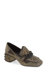 Jeffrey Campbell Women's 'Loreen' Studded Block Heel Loafer Gold Pebble Leather