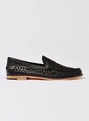 Topman Black Leather Weave Mantis Loafers
