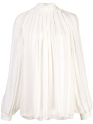 Derek Lam Long Sleeve Cord Embroidered Gauze Trapeze Blouse White
