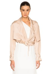 Tibi Cropped Moto Jacket In Neutrals Pink