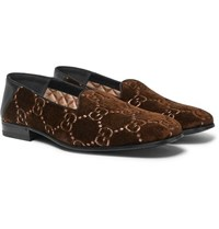 Gucci Gallipoli Collapsible Heel Leather Trimmed Embroidered Velvet Loafers Brown