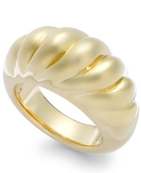 Signature Gold Ribbed Dome Ring In 14K Gold