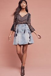 Anthropologie Pilcro Embroidered Denim Skirt Denim Dark