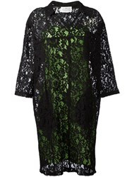 Maison Martin Margiela Floral Lace Shift Dress Black
