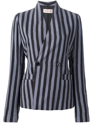 Eggs Striped Double Breasted Blazer