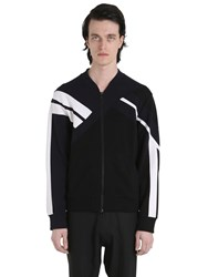 Neil Barrett Patchwork Neoprene Zip Up Sweatshirt