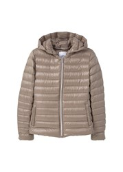 Mango Feather Down Hooded Coat Brown