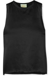 Aries Luda Frayed Silk Satin Tank Black