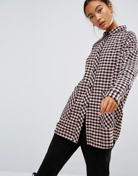 Monki Large Pocket Check Shirt Pink