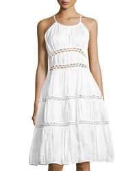 Zac Posen Novelty Cotton Blend Fit And Flare Dress White