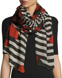 Faliero Sarti L'acessorio Zig Zag Check And Stripe Voile Scarf Black Red Black Red
