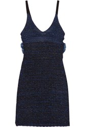 Kenzo Cutout Metallic Knitted Mini Dress Midnight Blue