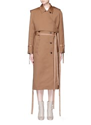 Ports 1961 Layered Wool Silk Gabardine Trench Coat Brown Neutral