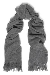Iris And Ink Fringed Brushed Wool Scarf Gray