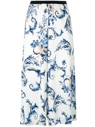 Antonio Marras Floral Print Cropped Trousers Blue