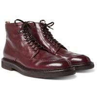 Officine Creative Stanford Distressed Leather Boots Burgundy