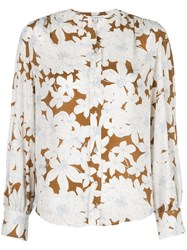 Vince Tropical Blooms Shirred Back Blouse White