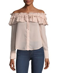 English Factory Off The Shoulder Ruffled Top Blush