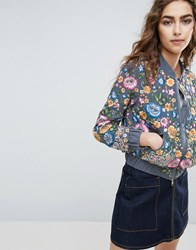 Needle And Thread Floral Embroidered Bomber Jacket Blue