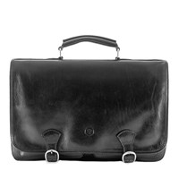 Maxwell Scott Bags Luxury Italian Leather Men's Satchel Briefcase Jesolo Night Black